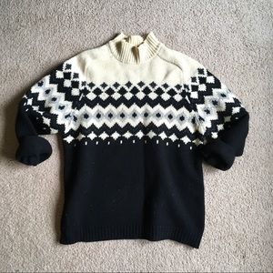 100% lambswool oversized sweater fair isle diamond